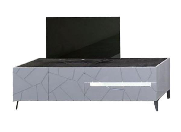 Porta TV modello Kenia con cassa e frontale bianco lucido.