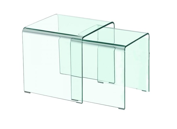 Set composto da 2 tavolini modello Bis, vetro trasparente supporti finitura acciaio lucido.