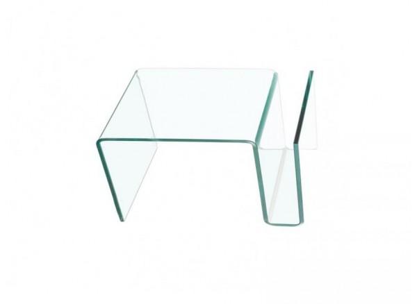 Tavolino Nora in vetro trasparente curvato