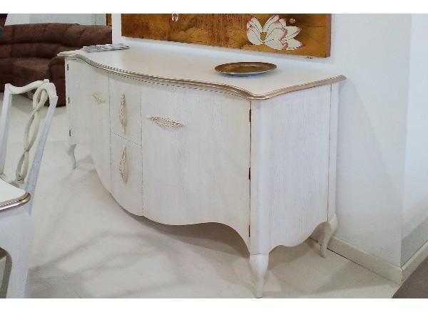 Credenza 2 Ante + 2 Cestoni L200 cm P 55 cm H97 cm, in legno frassinato colore bianco con bordo old america.