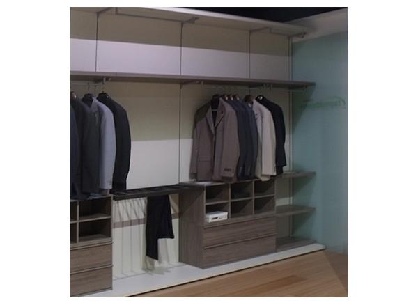 cabina armadio come da disegno colore struttura sabbia e accessori noce dark