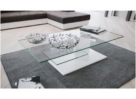 Tavolino  modello Tower piano in vetro e base bianco lucido