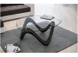 Tavolino modello Alicudi piano vetro e base bianco