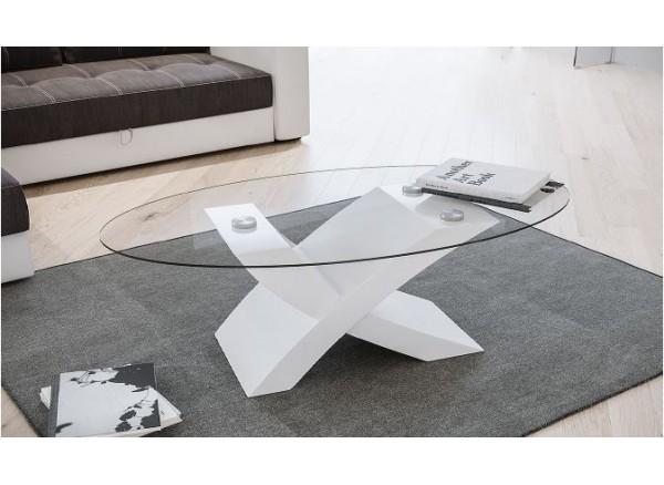 Tavolino modello Billy piano vetro e base bianco lucido