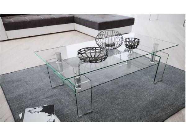 Tavolino modello Zaffiro piano in vetro e base bianco lucido