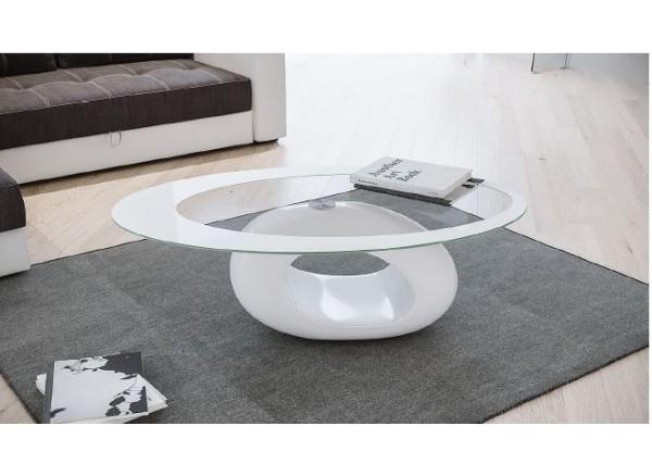 Tavolino New Ring piano vetro trasparente con bordo bianco  e base bianco lucido