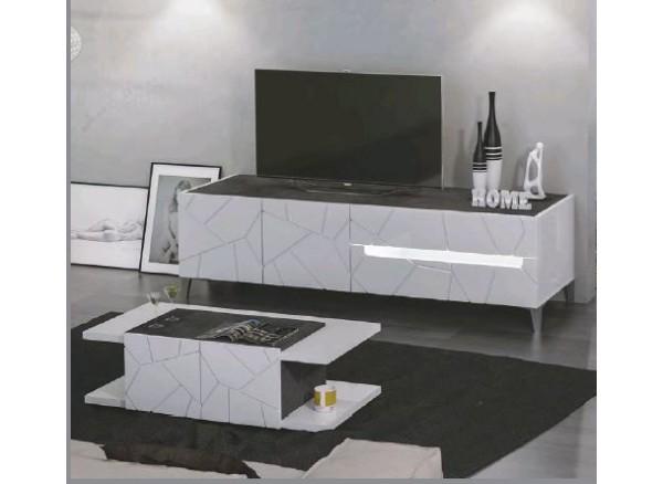 Tavolino salotto mod. Kenia-  cassa bianco lucido, frontale bianco lucido particolari.